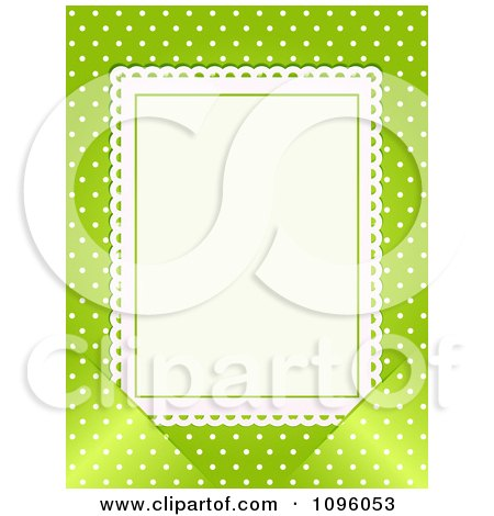Clipart Blank White Card Inserted Into Slots Over Green With White Polka Dots - Royalty Free Vector Illustration by elaineitalia