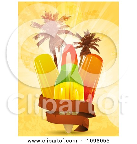 Clipart Blank Banner Around Popsicles And Palm Trees On Orange Grunge And Flares - Royalty Free Vector Illustration by elaineitalia