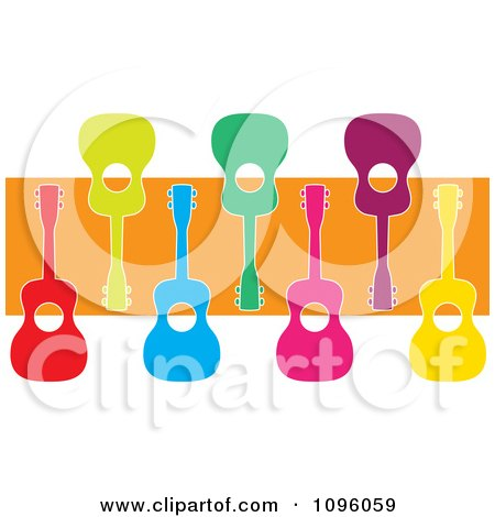 Clipart Colorful Ukuleles Over An Orange Stripe - Royalty Free Vector Illustration by Maria Bell