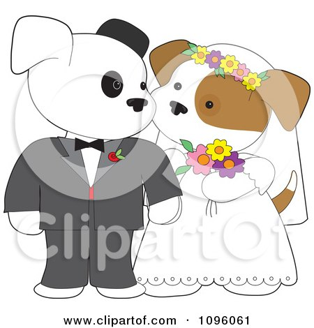 Clipart Two Wedding Puppies Gazing At Each Other During Their Marriage Ceremony - Royalty Free Vector Illustration by Maria Bell