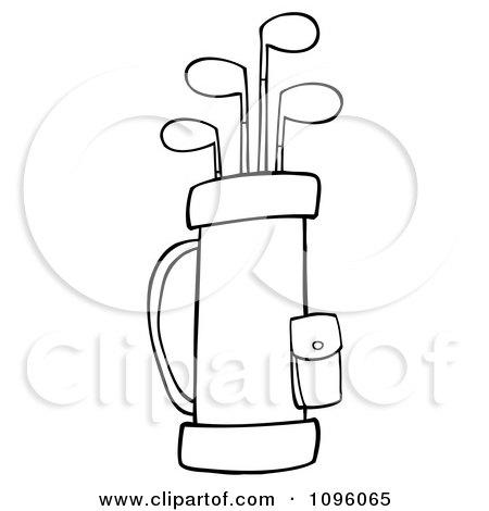 clipart outlined golf bag full of clubs royalty free vector rh clipartof com Cartoon Golf Club Golf Clubs