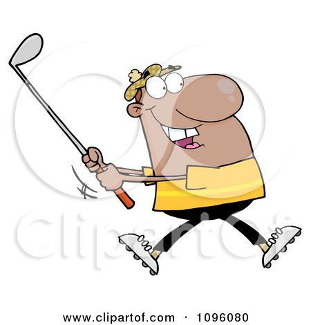 Clipart Black Man Swinging A Golf Club - Royalty Free Vector Illustration by Hit Toon