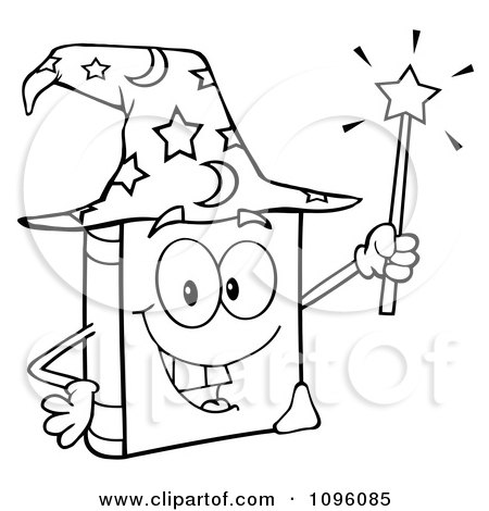 Clipart Outlined Happy Spell Book With A Wizard Hat And Magic Wand - Royalty Free Vector Illustration by Hit Toon