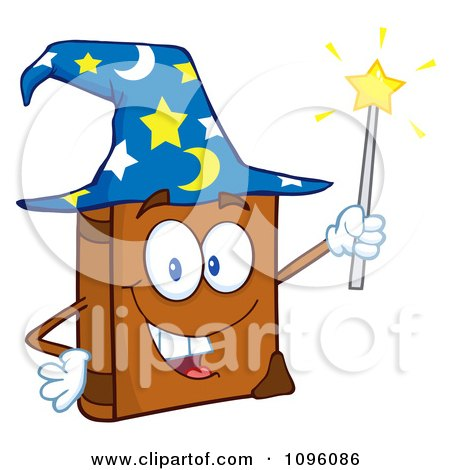 Clipart Happy Spell Book With A Wizard Hat And Magic Wand - Royalty Free Vector Illustration by Hit Toon