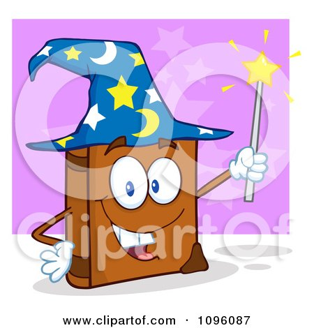 Clipart Smiling Spell Book With A Wizard Hat And Magic Wand - Royalty Free Vector Illustration by Hit Toon
