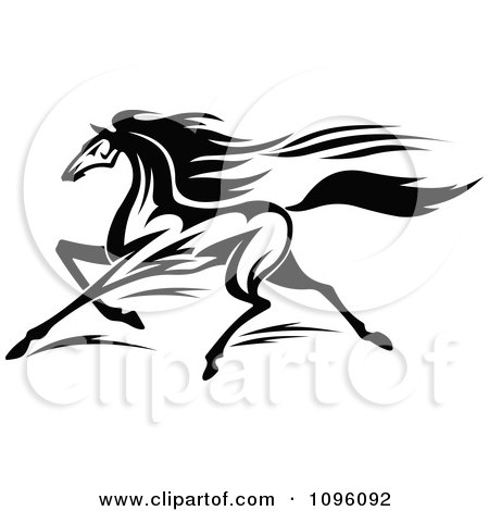Clipart Black And White Racing Horse Running - Royalty Free Vector Illustration by Vector Tradition SM