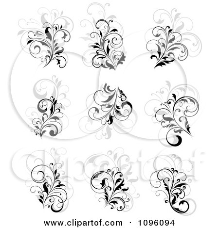 Clipart Black Gray And White Flourish Designs - Royalty Free Vector Illustration by Vector Tradition SM