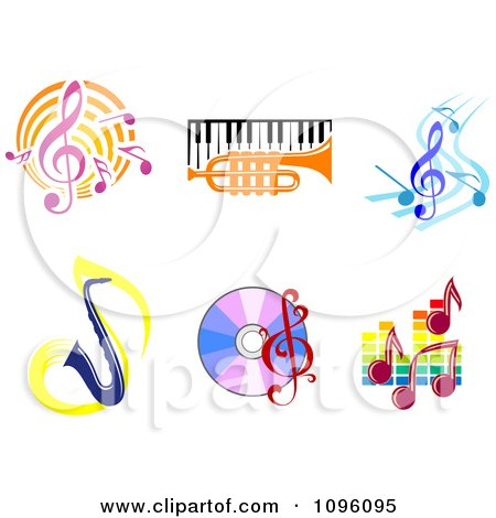 Clipart Music Notes Instruments And Cds - Royalty Free Vector Illustration by Vector Tradition SM