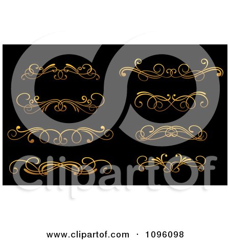 Clipart Golden Flourish Rule And Border Design Elements 12 - Royalty Free Vector Illustration by Vector Tradition SM