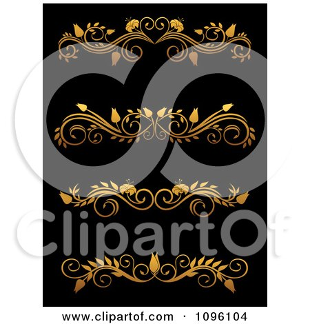 Clipart Golden Flourish Rule And Border Design Elements 13 - Royalty Free Vector Illustration by Vector Tradition SM