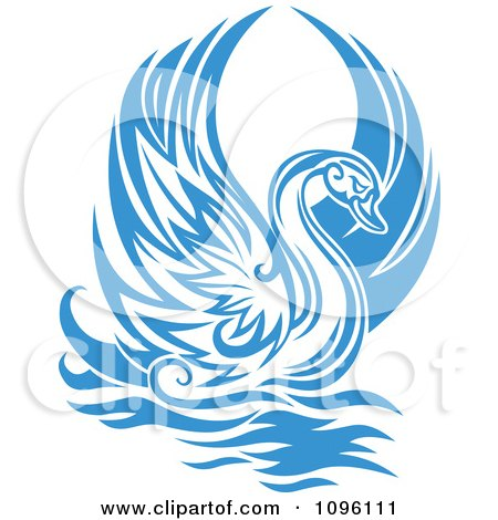 Clipart Lone Blue Graceful Swan Raising Its Wings - Royalty Free Vector Illustration by Vector Tradition SM