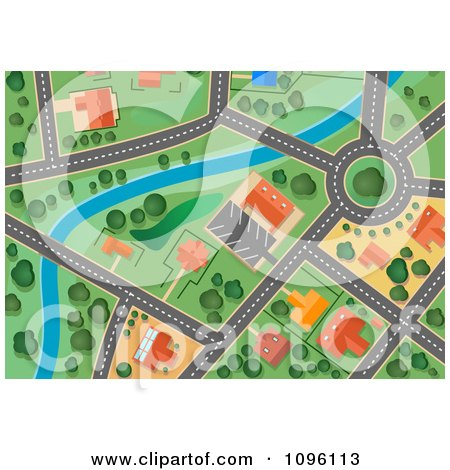 Clipart Residential Gps Street Map 2 - Royalty Free Vector Illustration by Vector Tradition SM