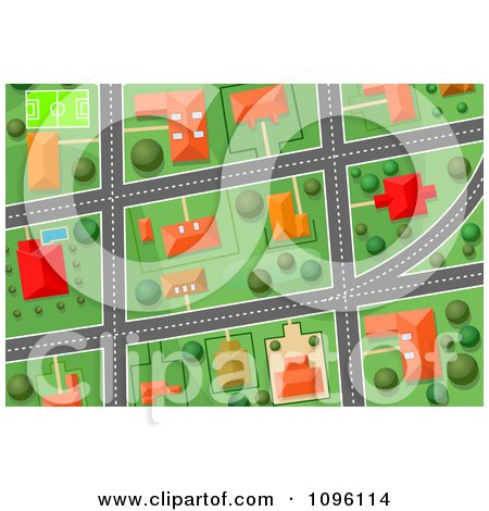 Clipart Residential Gps Street Map 3 - Royalty Free Vector Illustration by Vector Tradition SM