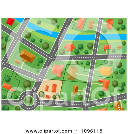 Clipart Residential Gps Street Map 4 - Royalty Free Vector Illustration by Vector Tradition SM