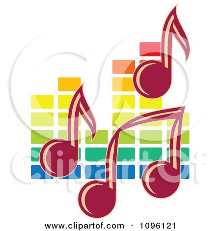 Clipart Music Notes And Colorful Equalizer - Royalty Free Vector Illustration by Vector Tradition SM
