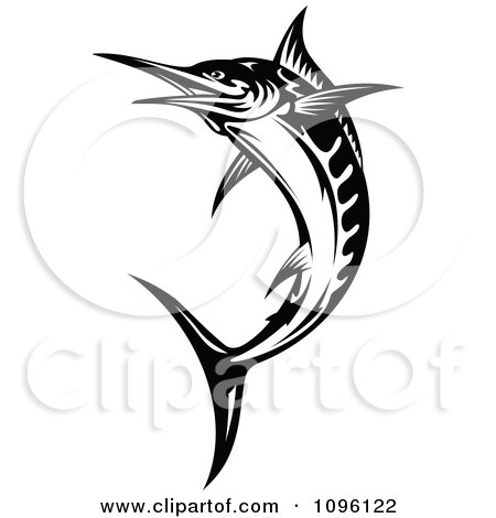 Clipart Black And White Leaping Billfish - Royalty Free Vector Illustration by Vector Tradition SM