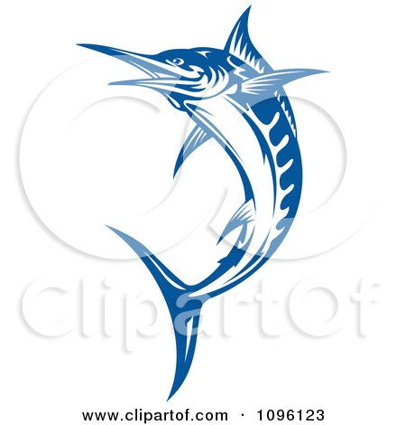 Clipart Blue Leaping Billfish - Royalty Free Vector Illustration by Vector Tradition SM