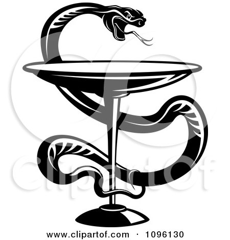 Clipart Black And White Medical Caduceus With A Snake And Chalice - Royalty Free Vector Illustration by Vector Tradition SM