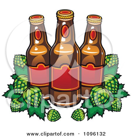 Clipart Brewery Beer Bottles And Hops - Royalty Free Vector Illustration by Vector Tradition SM