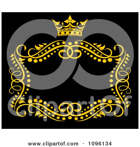 Clipart Gold Ornate Swirl Frame With A Crown And Copyspace On Black 2 - Royalty Free Vector Illustration by Vector Tradition SM