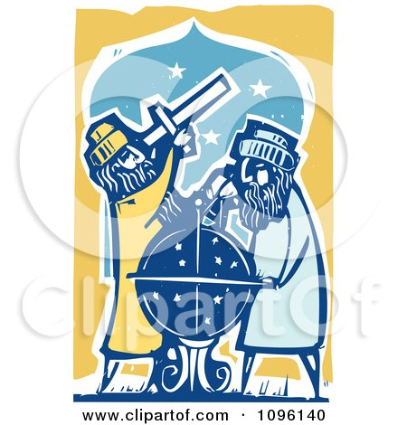 Clipart Male Astronomers Using A Telescope And Globe - Royalty Free Vector Illustration by xunantunich
