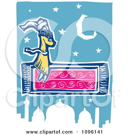 Clipart Arabian Man Flying On A Magic Carpet Over A Mosque - Royalty Free Vector Illustration by xunantunich