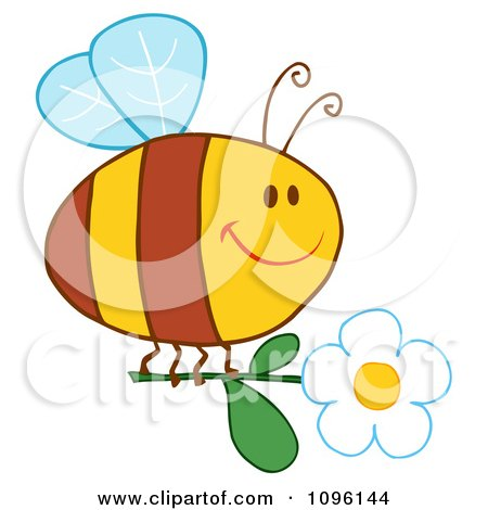 Clipart Happy Bee Flying With A White Daisy Flower - Royalty Free Vector Illustration by Hit Toon