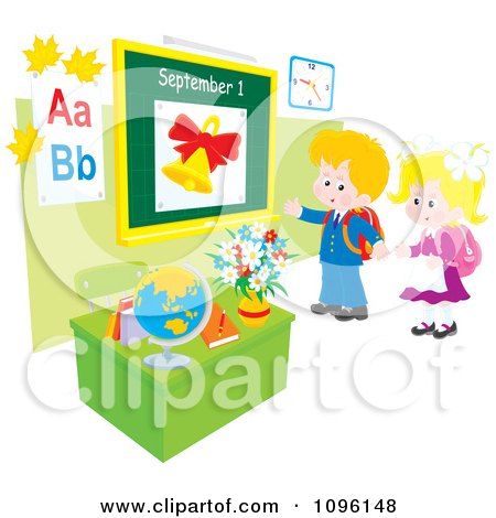Clipart School Boy And Girl Returning Back To School And Standing In A Class Room - Royalty Free Vector Illustration by Alex Bannykh