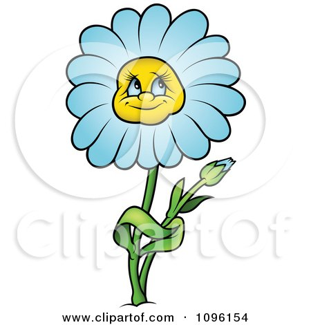 Clipart Blue Daisy In Thought - Royalty Free Vector Illustration by dero