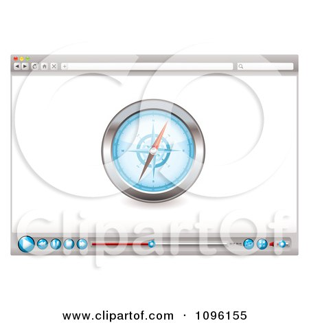Clipart Internet Web Browser With A Compass And Media Icons - Royalty Free Vector Illustration by michaeltravers