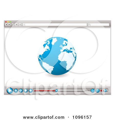 Clipart Internet Web Browser With A Globe And Media Icons - Royalty Free Vector Illustration by michaeltravers