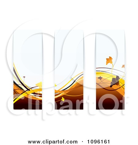 Clipart Brown And Orange Floral Wave Panels - Royalty Free Vector Illustration by michaeltravers