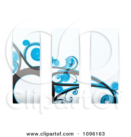 Clipart Blue Floral Wave Panels - Royalty Free Vector Illustration by michaeltravers