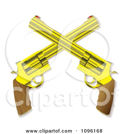 Clipart 3d Wooden And Gold Crossed Hand Guns - Royalty Free Vector Illustration by michaeltravers