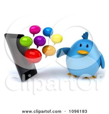 Clipart 3d Chubby Blue Bird And Messenger Clouds By A Cell Phone - Royalty Free CGI Illustration by Julos
