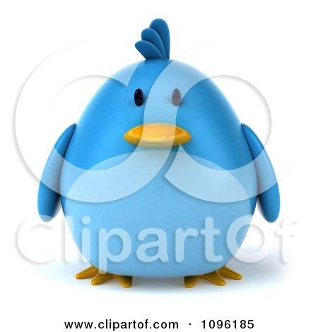 3d Chubby Blue Bird Posters, Art Prints