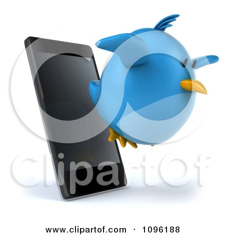 Clipart 3d Chubby Blue Bird Flying From A Cell Phone - Royalty Free CGI Illustration by Julos