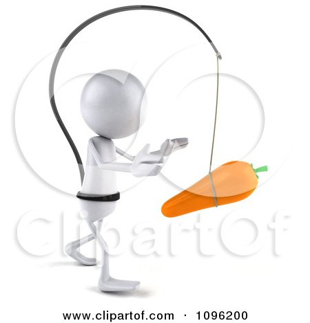 Clipart 3d White Bob Chasing A Carrot 2 - Royalty Free CGI Illustration by Julos