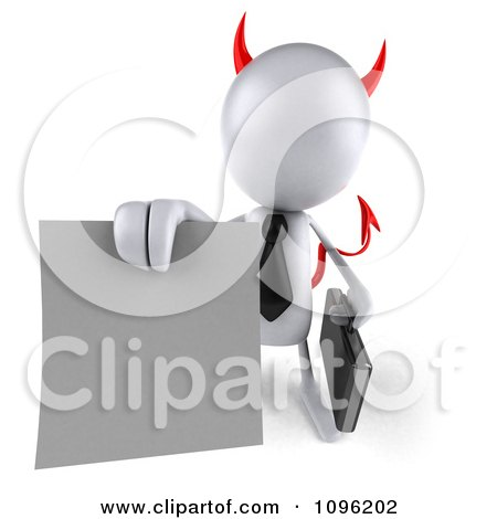 Clipart 3d White Bob Devil Businessman Holding A Contract Out - Royalty Free CGI Illustration by Julos