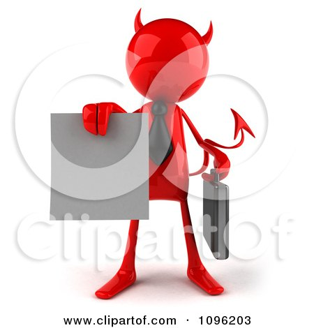Clipart 3d Red Bob Devil Businessman Holding A Contract Out 1 - Royalty Free CGI Illustration by Julos