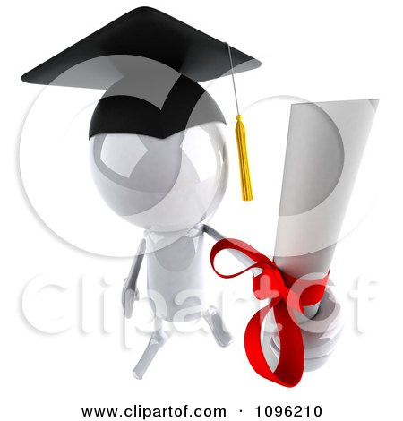 Clipart 3d White Bob Character Graduate Holding A Diploma - Royalty Free CGI Illustration by Julos