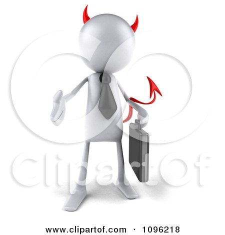 Clipart 3d White Bob Devil Businessman Holding His Hand Out To Shake - Royalty Free CGI Illustration by Julos