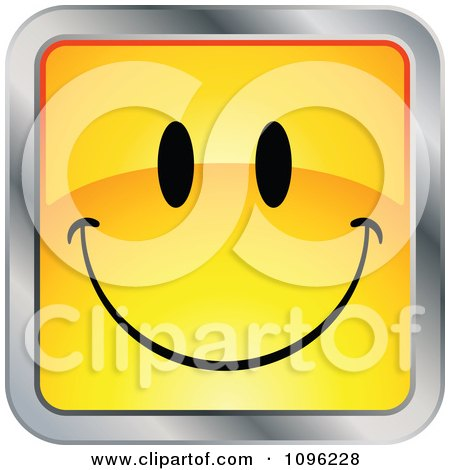Clipart Happy Yellow And Chrome Square Cartoon Smiley Emoticon Face 1 - Royalty Free Vector Illustration by beboy