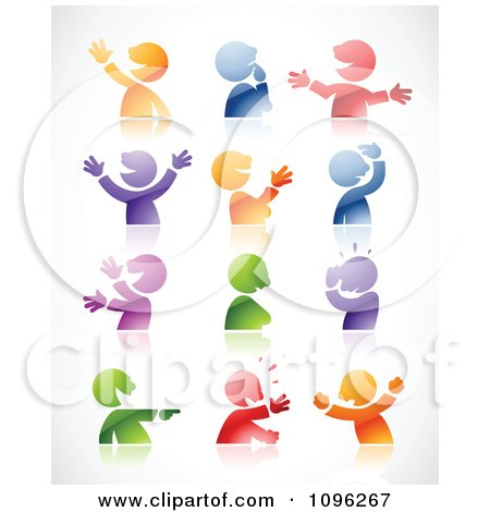 Clipart Expressional Colorful Male Avatars And Reflections Royalty Free Vector Illustration
