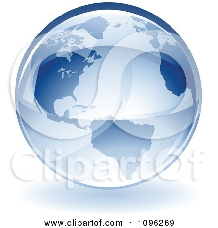 Clipart 3d Shiny Blue Earth Globe - Royalty Free Vector Illustration by TA Images