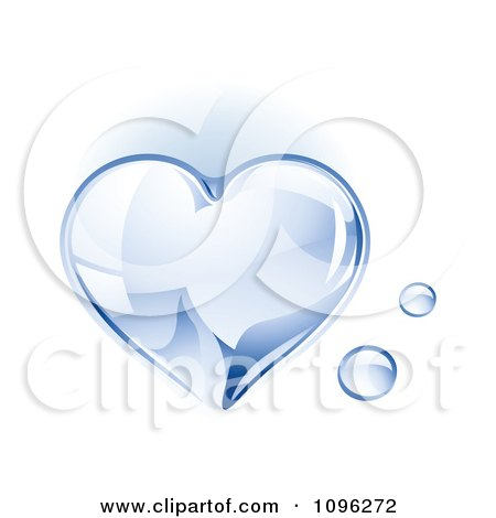 Clipart 3d Shiny Water Droplet Heart - Royalty Free Vector Illustration by TA Images