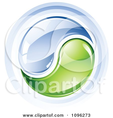 3d Shiny Water And Green Yin Yang Posters, Art Prints