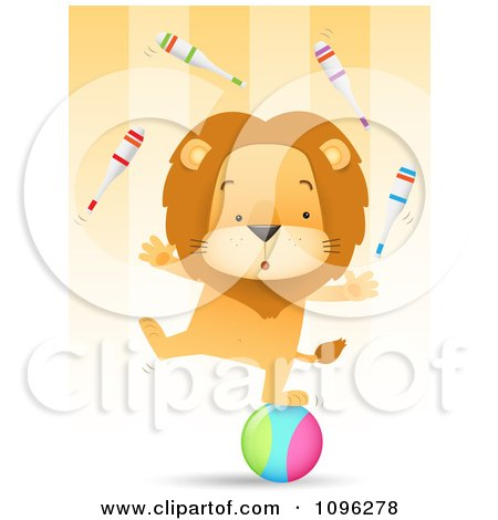 Clipart Talented Circus Lion Juggling Pins And Balancing One Legged On A Ball - Royalty Free Vector Illustration by Qiun