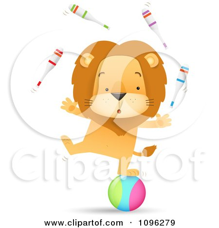 Clipart Talented Circus Lion Juggling Pins And Standing On A Ball - Royalty Free Vector Illustration by Qiun