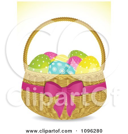 Clipart 3d Easter Egg Basket With Spotted Eggs And A Pink Bow And Ribbon - Royalty Free Vector Illustration by elaineitalia